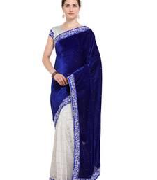 Buy Blue plain velvet saree with blouse women-ethnic-wear online