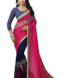 Dark hot pink plain faux georgette saree with blouse