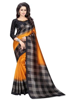 Yellow plain art silk sarees saree with blouse