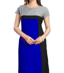 Buy Blue plain crepe stitched kurti kurtas-and-kurti online