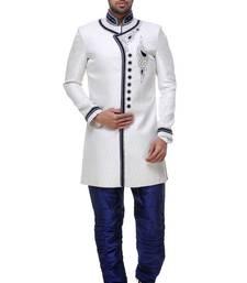 Indian Poshakh Off White Broket Kurta Pajama
