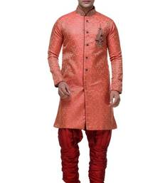 Indian Poshakh Maroon Broket Kurta Pajama