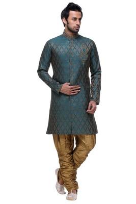 Indian Poshakh Rama Green Broket Kurta Pajama