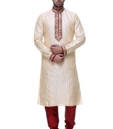 Buy Indian poshakh gold art silk kurta pajama kurta-pajama online