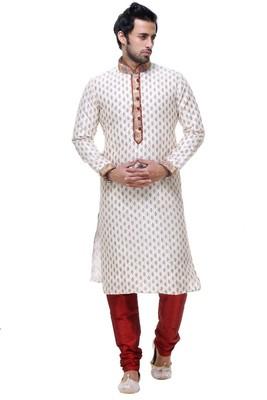 Indian Poshakh Cream Art Silk Kurta Pajama