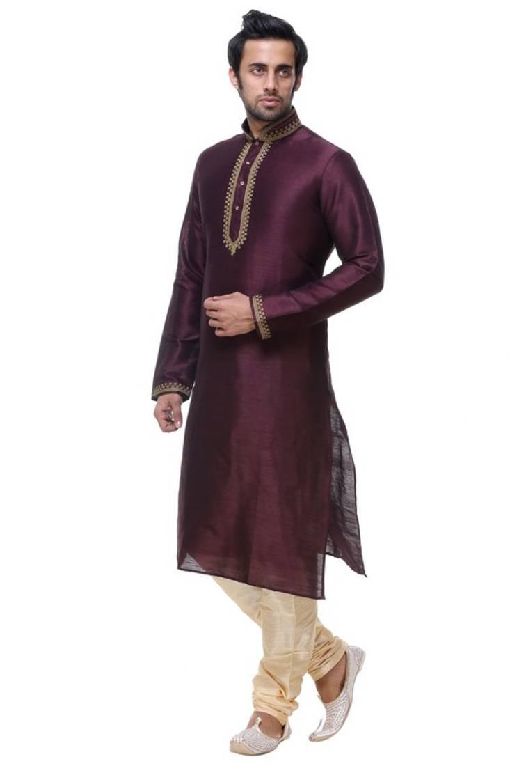 f306290ffd Indian poshakh wine maroon art silk kurta pajama - Indian Poshakh ...