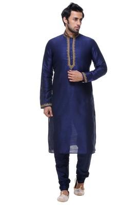 Indian Poshakh Blue Art Silk Kurta Pajama