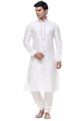 Indian Poshakh Off White Art Silk Kurta Pajama