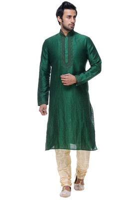 Indian Poshakh Green Art Silk Kurta Pajama