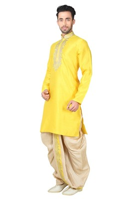 Indian poshakh yellow bangalore silk dhoti pajama