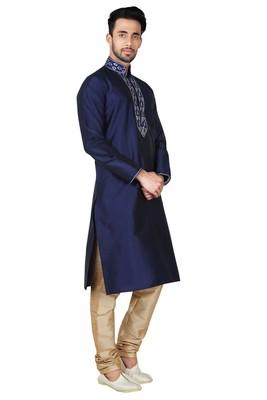 Indian Poshakh Navy Blue Art Silk Kurta Pajama
