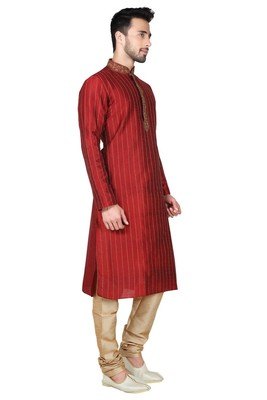 Indian Poshakh Maroon Art Silk Kurta Pajama