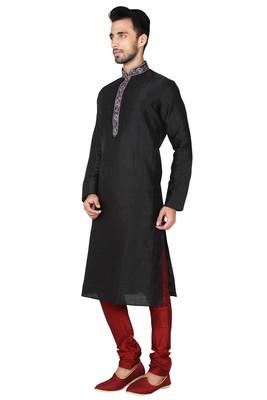 Indian Poshakh Black Art Silk Kurta Pajama