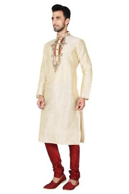 Indian Poshakh Fawn Art Silk Kurta Pajama