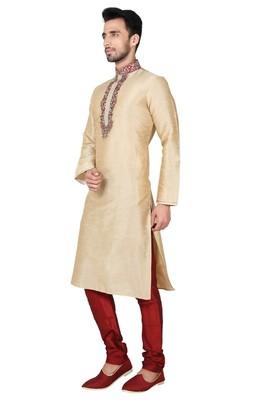 Indian Poshakh Gold Art Silk Kurta Pajama