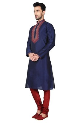 Indian Poshakh Navy Blue Art Silk Kurta Pajama
