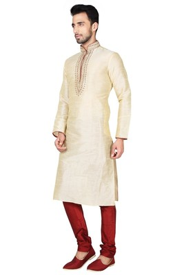 Indian Poshakh Fawn Art Silk Kurta Pajama