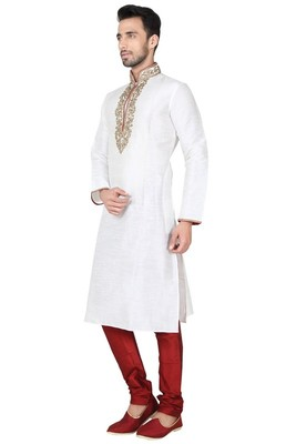 Indian Poshakh Off White Art Silk Kurta Pajama