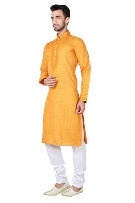 Indian Poshakh Orange Cotton Kurta Pajama