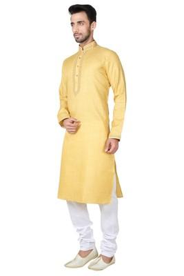 Indian Poshakh Yellow Cotton Kurta Pajama
