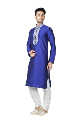 Indian Poshakh Royal Blue Tufetta Kurta Pajama
