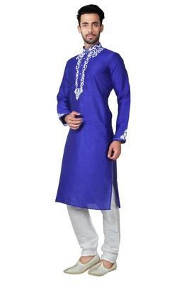 Indian Poshakh Royal Blue Bangalore Silk Kurta Pajama