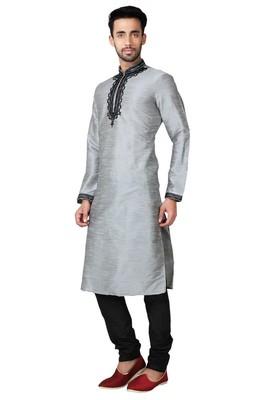 Indian Poshakh Grey Art Silk Kurta Pajama