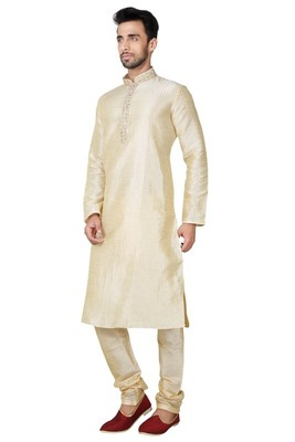 Indian Poshakh Gold Art Silk Kurta Pajama