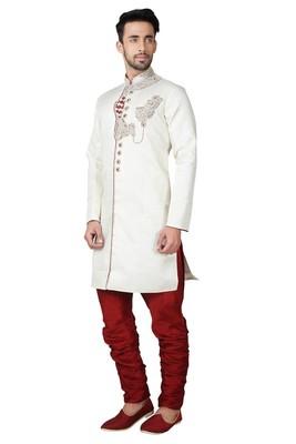 Indian Poshakh Cream Brocket Kurta Pajama