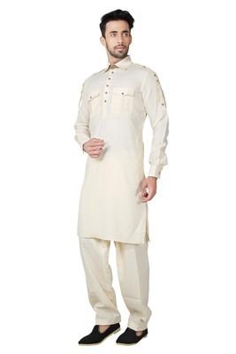 Indian Poshakh Fawn Cotton Linen Kurta Pajama