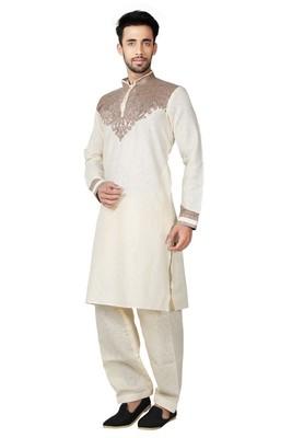 Indian Poshakh Cream Cotton Linen Kurta Pajama