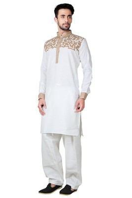 Indian Poshakh White Cotton Linen Kurta Pajama