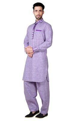 Indian Poshakh Lavender Cotton Linen Pathani Suit
