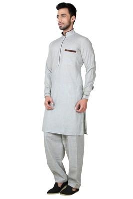 Indian Poshakh Gazaree Cotton Linen Pathani Suit