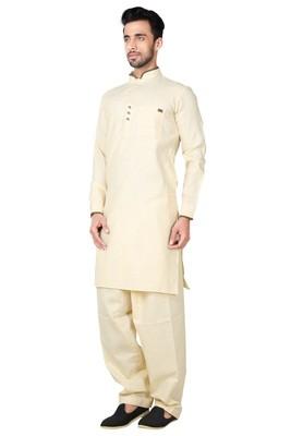 Indian Poshakh Brown Cotton Linen Kurta Pajama