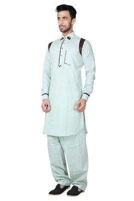 Indian Poshakh Feeroze Cotton Linen Kurta Pajama