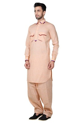 Indian Poshakh Pink Cotton Linen Kurta Pajama