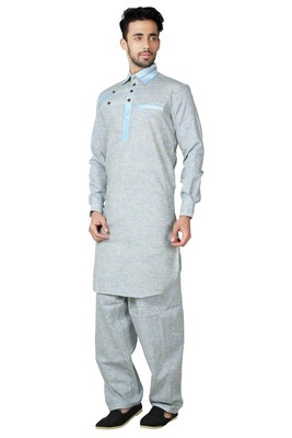 Indian Poshakh Mustard Cotton Linen Kurta Pajama