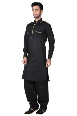 Indian Poshakh Black Cotton Linen Kurta Pajama