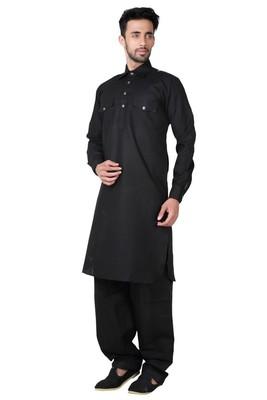 Indian Poshakh Black Cotton Linen Pathani Suit