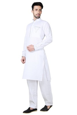 Indian Poshakh White Cotton Linen Kurta Pajama