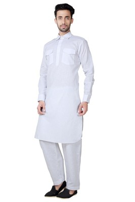 Indian Poshakh White Cotton Linen Pathani Suit
