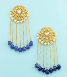 Buy Golden beige polki stones dangle and drop earrings jewellery for women danglers-drop online