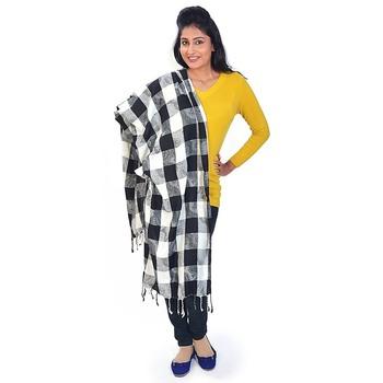 Black N White Chequered Warm Kashmiri Scarf Stole