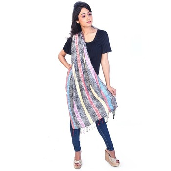 Paisley Stripes Design Multicolor Fancy Silk Stole