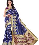 Buy Blue woven saree with blouse