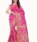 Buy Pink woven banarasi art silk saree with blouse