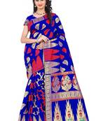 Buy Blue woven art silk saree with blouse