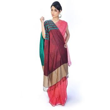 Multi-Color Striped Border Reversible Silk Stole