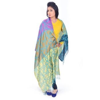 Multicolor Designer Kashmiri Reversible Silk Stole